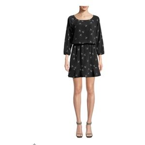 Joie Feather-Print Crepe Dress Size M